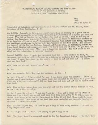 Transcript of telephone conversation between Gen. DeWitt and Asst Secretary of War McCloy p1