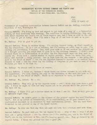 File Evacuation of Japanese - Phone Transcript with McCloy Page 1 April 15 1943