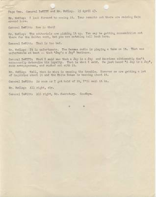 File Evacuation of Japanese - Phone Transcript with McCloy Page 2 April 15 1943