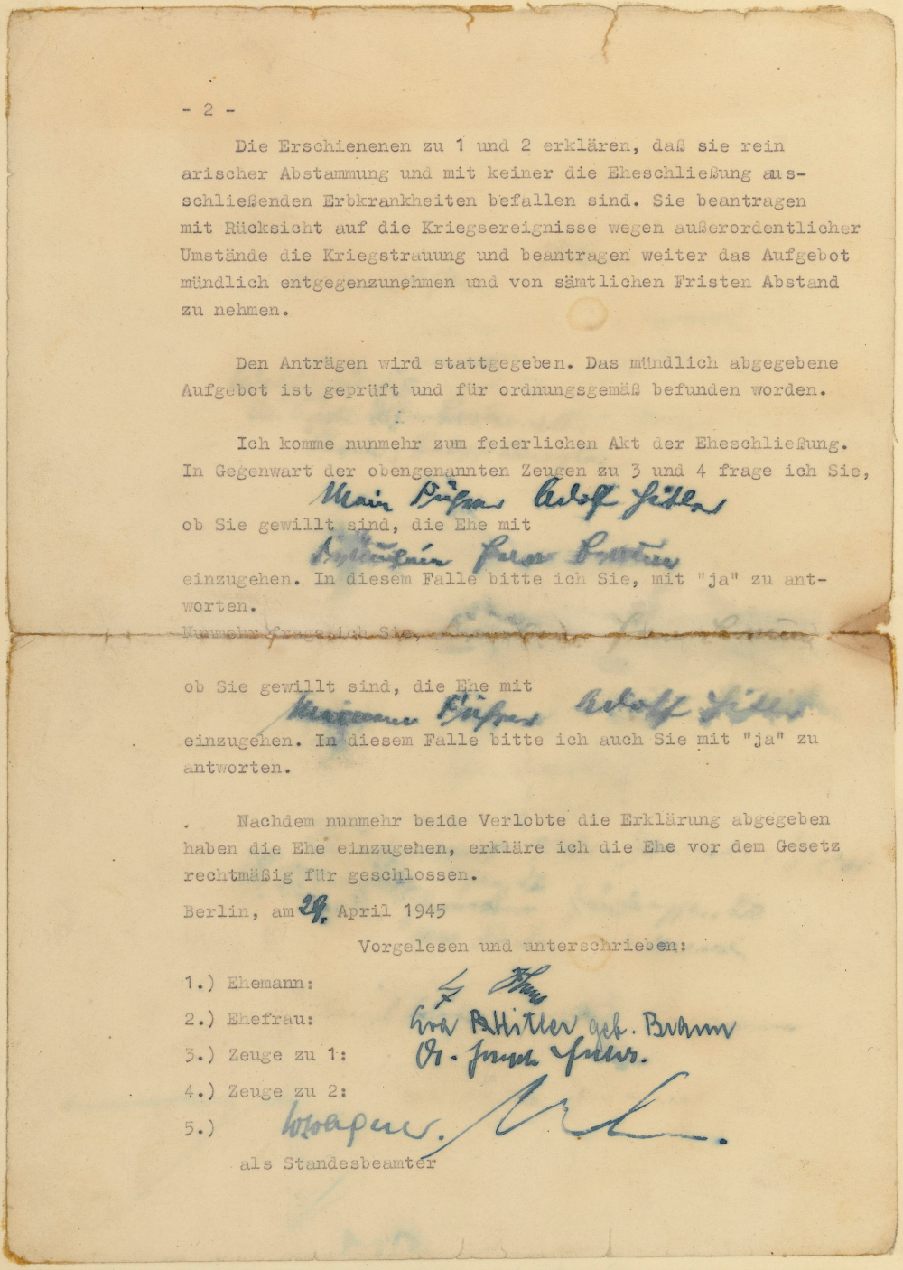 hitlers political testament personal will and marriage With documents in the national archives