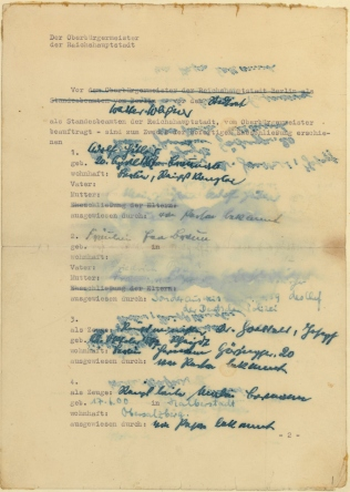 Marriage Certificate of Eva Braun and Adolph Hitler, p1
