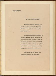 English Translation of Hitler's Political Testament p1