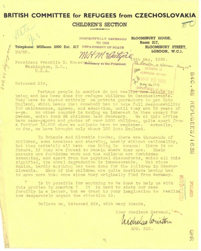 Nicholas Winton to President Franklin D. Roosevelt