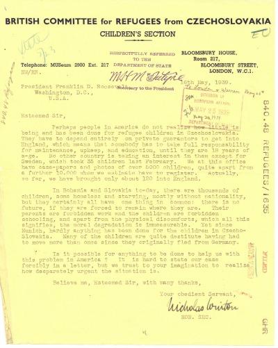 Nicholas Winton to President Franklin D. Roosevelt