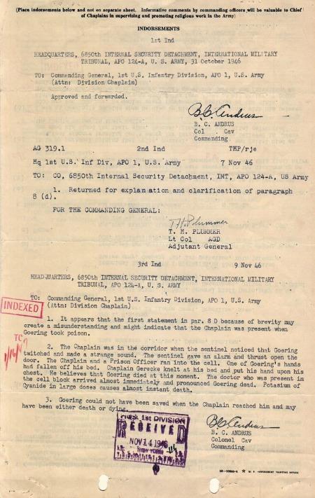 Gerecke, Monthly Report, 10/31/1946