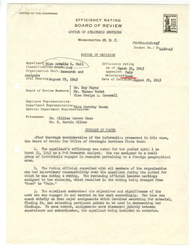 OSS Efficiency Rating Board of Review, Notice of Decision, p1, NAID 2174783