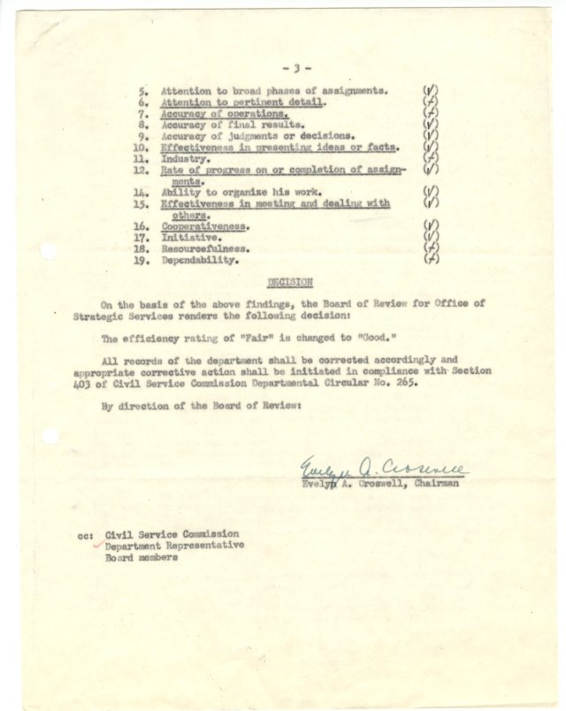 OSS Efficiency Rating Board of Review, Notice of Decision, p3, NAID 2174783