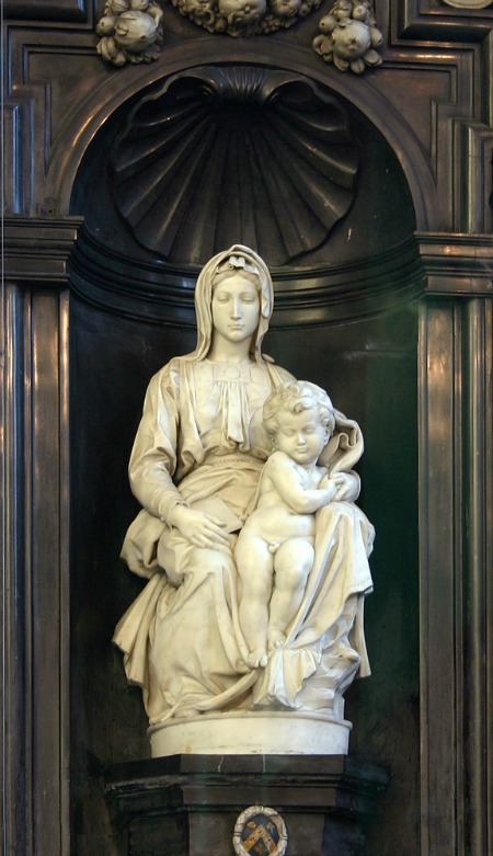 """Madonna michelangelo"". Licensed under Creative Commons Attribution-Share Alike 3.0 via Wikimedia Commons"