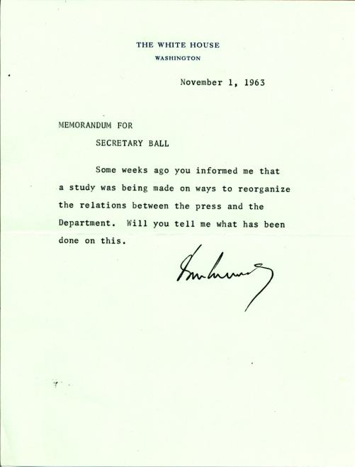 Note to Ball from President Kennedy