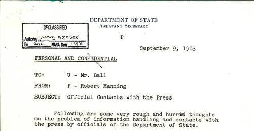 Memo from Manning to Ball, 1962