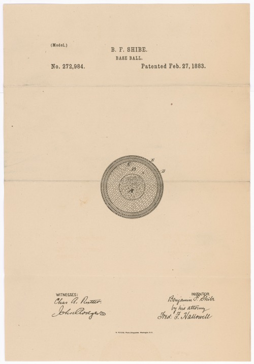 Design for a baseball By Benjamin F. Shibe, Philadelphia, Pennsylvania Patented February 27, 1883 Patent number 272,984.