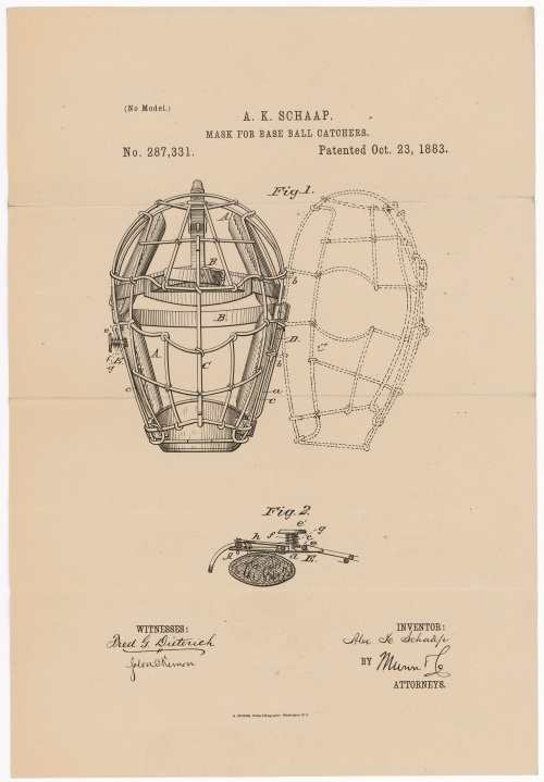 Design for Masks for Base Ball Catchers By Alexander K. Schaap of Richmond, Virginia Patented October 23, 1883