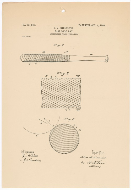 Design for a baseball bat (Patent 771247)