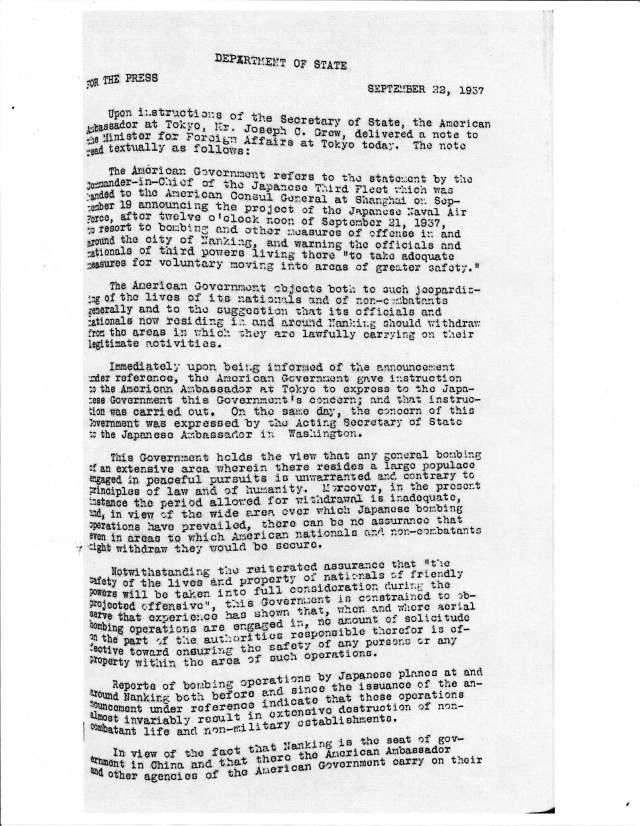 Press Release, Sept 22, 1937, p1