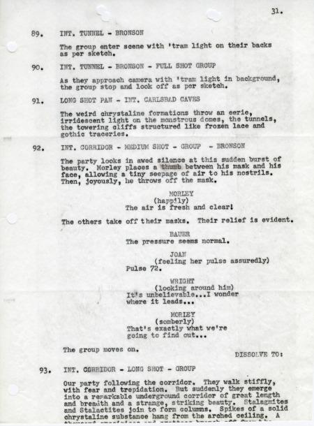 Excerpt from Script of Unknown World, Correspondence Regarding Carlsbad National Park, 1930-53, RG 79
