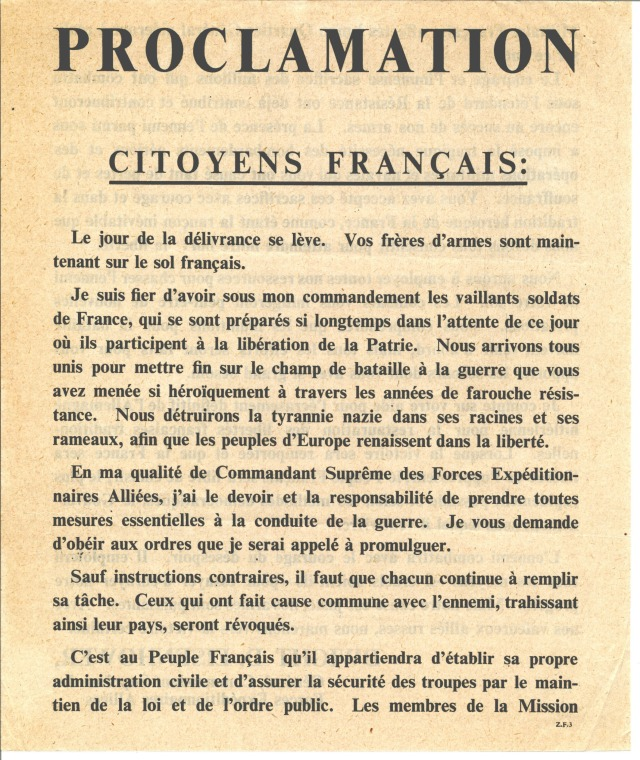 Proclamation from Supreme Commander Eisenhower to the Citizens of France, front