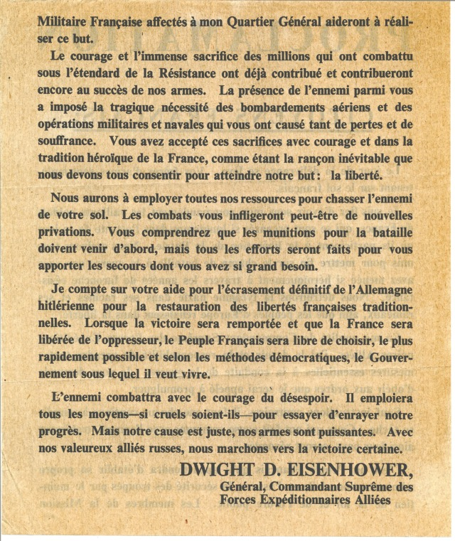 Proclamation from Supreme Commander Eisenhower to the Citizens of France, reverse