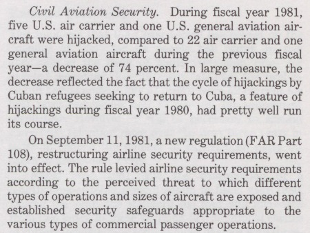 Excerpt from Civil Aviation Security Section of the U.S. Department of Transportation Office of the Secretary 15th Annual Report, Fiscal Year 1981.