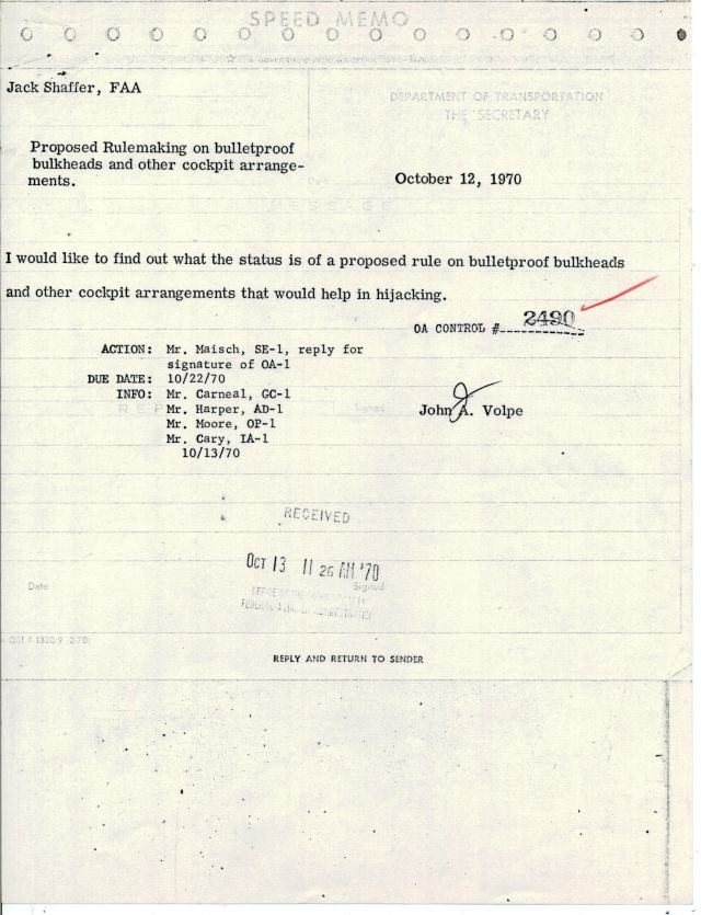 Memo from Secretary of Transportation Speed, Oct 12, 1970