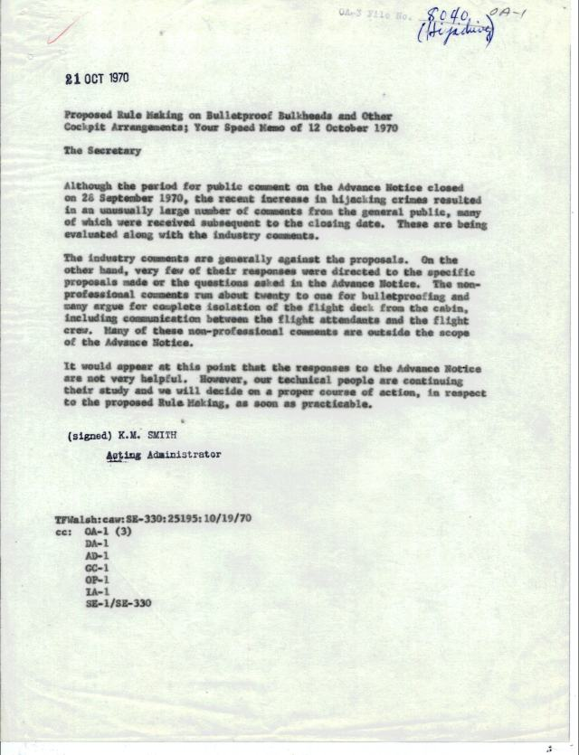 FAA Response to Speed Memo, Oct 21, 1970