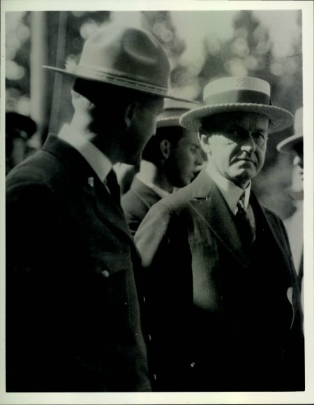 """Superintendant Albright with President Coolidge in Yellowstone, 1927"""