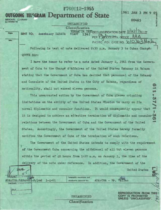 Telegram from Secretary of State Christian Herter to the American Embassy, Habana, Jan. 3, 1961, p1