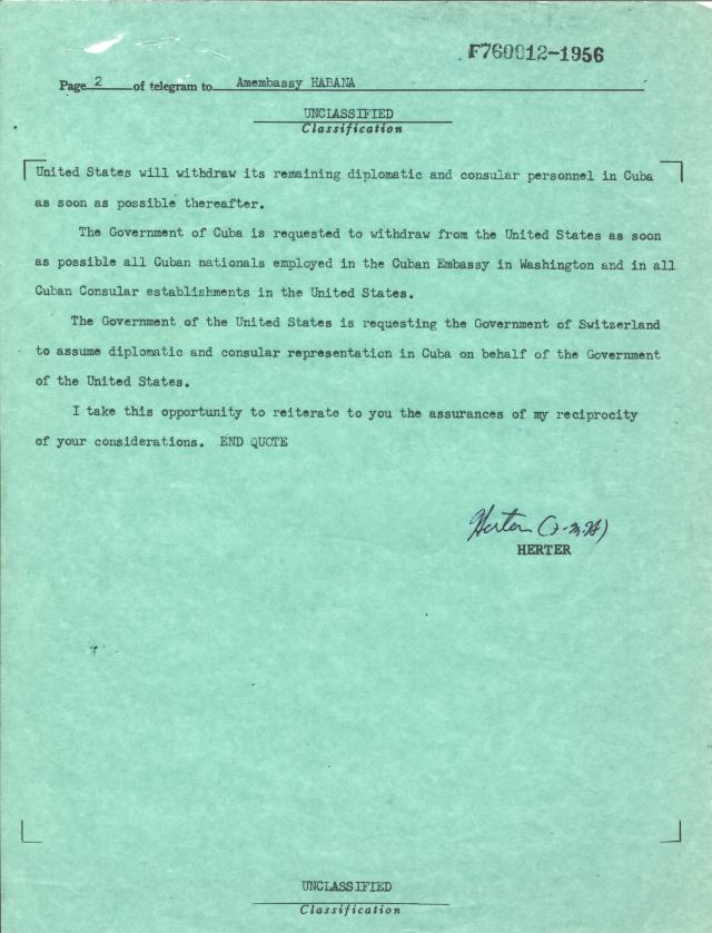 Telegram from Secretary of State Christian Herter to the American Embassy, Habana, Jan. 3, 1961, p2