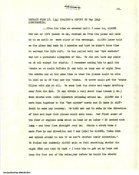 Extract from Lt. (jg) Reading's Report 22 May 1943, p10