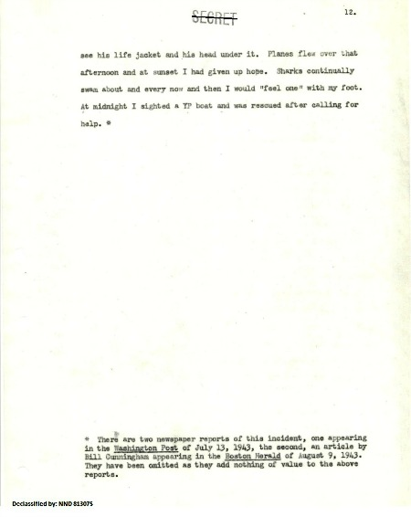 Extract from Lt. (jg) Reading's Report 22 May 1943, p12