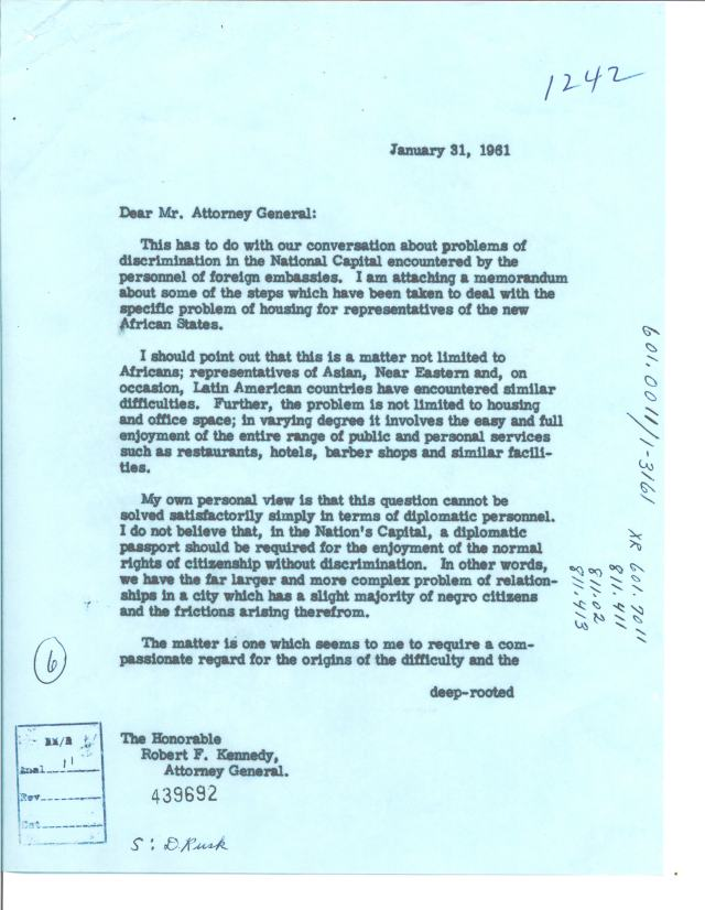 Letter from Secretary of State Dean Rusk to Attorney General Robert F. Kennedy, 1/31/1961 p1
