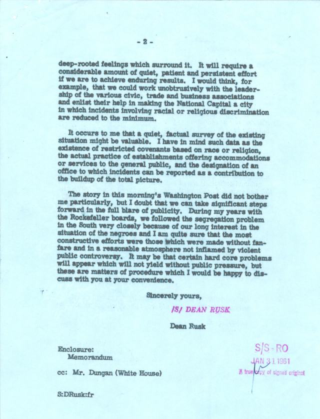Letter from Secretary of State Dean Rusk to Attorney General Robert F. Kennedy, 1/31/1961 p2