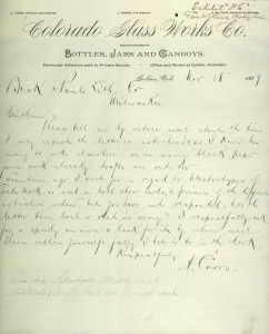 Coors letter regarding status of his order