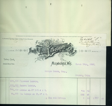 bill for Coors labels totalling $910.42