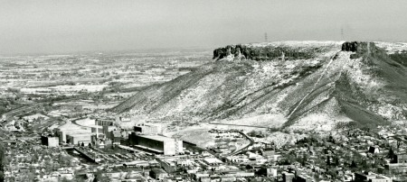 photo of Castle Rock to the right of the town of Golden, CO