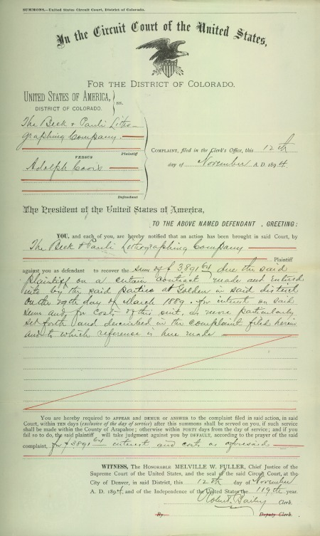 summons for adolph coors notifying of a case to recover $3891.64