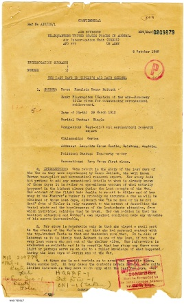 interrogation report about Hitler's last days in the bunker