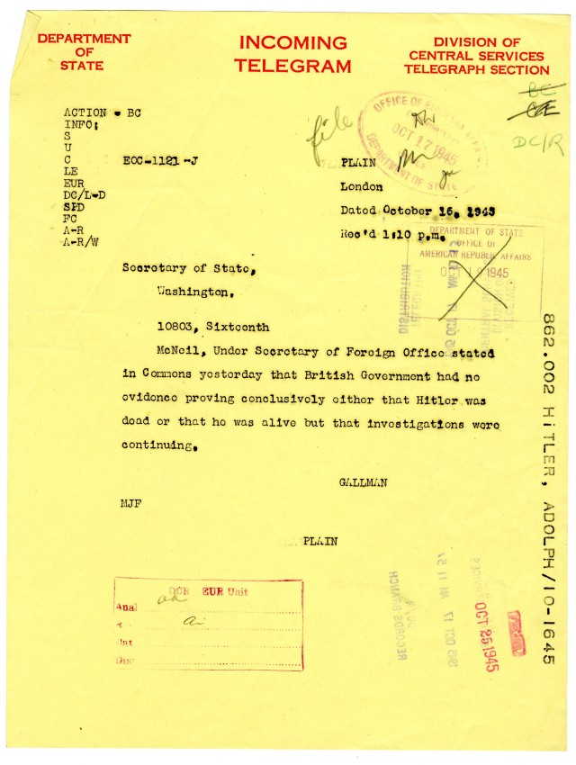 telegram sent to the Secretary of State regarding Hitler's death