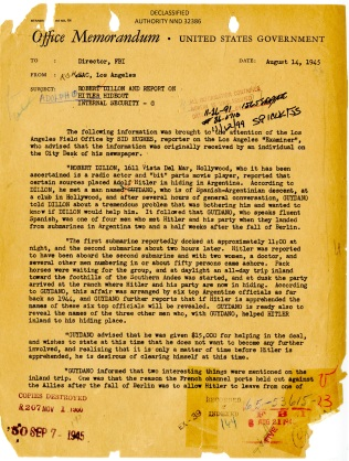 Report of Hitler in Argentina, August 1945. FBI Case File 65-53615. P.1.