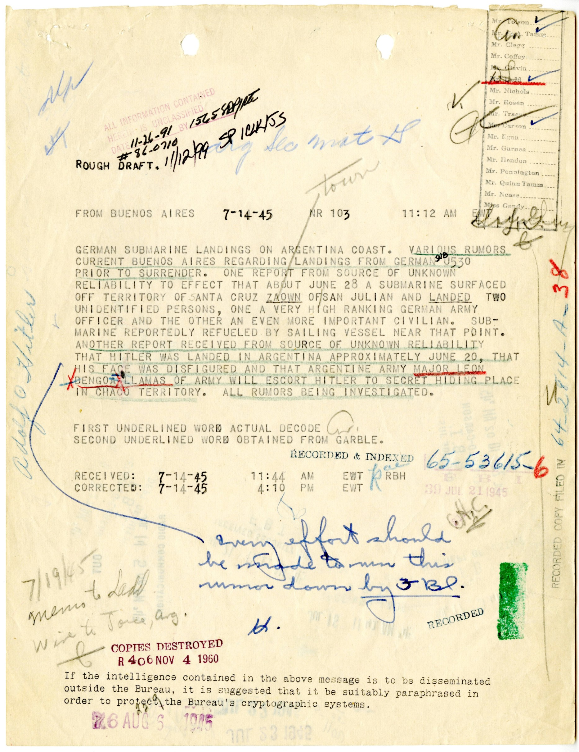 Report of Hitler in Argentina, July 1945. FBI Case File 65-53615.