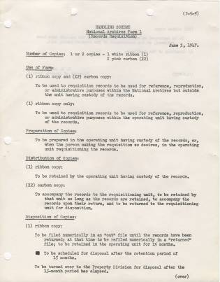 memo with instructions about the records requisition form