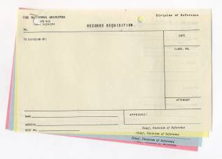 Records Requisition Form, January 1939