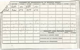 Record of Chargeouts on the reverse of a pull slip