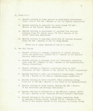 Page from table of contents of second draft.