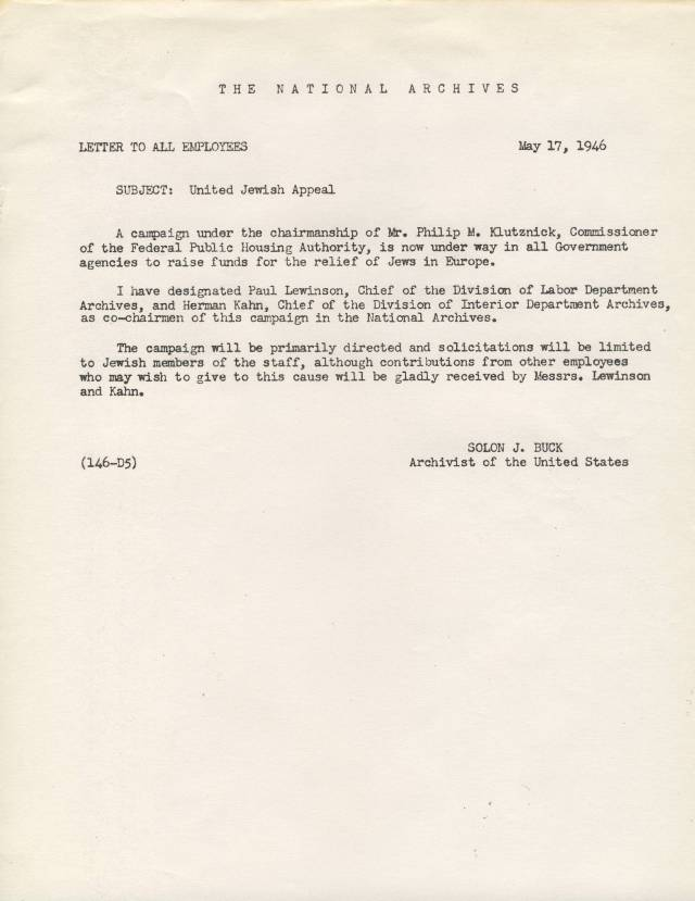 RG 64, A1 9C - Letter to All Employees, May 17, 1946 - United Jewish Appeal, Lewinson and Kahn