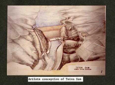 Artist's conception of Teton Dam (NAID 28894691)