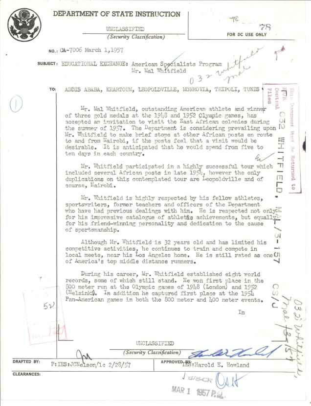 Dept of State to Addis Ababa, Khartoum, Leopoldville, Monrovia, Tripoli, and Tunis Mar 1, 1957