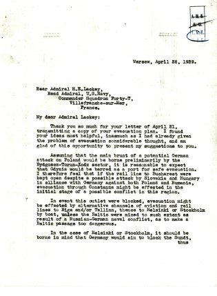 Letter from Ambassador Anthony J.D. Biddle to Rear Admiral H.E. Lackey, April 26, 1939. p.1