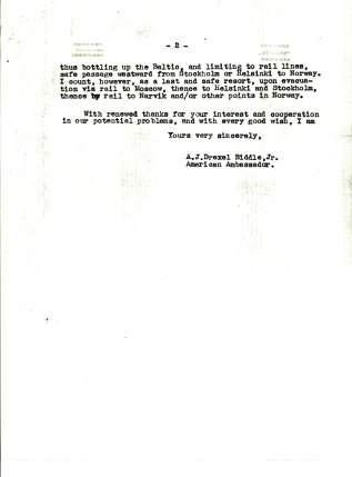 Letter from Ambassador Anthony J.D. Biddle to Rear Admiral H.E. Lackey, April 26, 1939. p.2