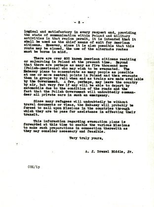 Letter from Ambassador Biddle to Ambassador Steinhardt, August 18, 1939, P.2
