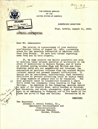 Letter from Ambassador John C. Wiley to Ambassador Biddle, August 21, 1939, P. 1
